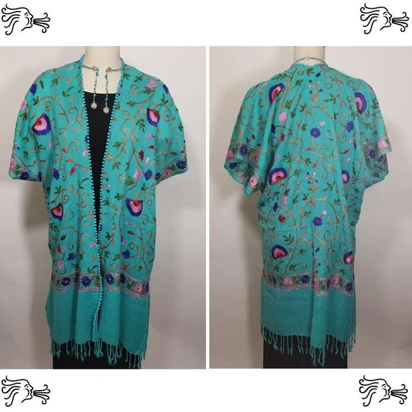 Turquoise & Blue Embroidered Kimono Jacket Duster Vest