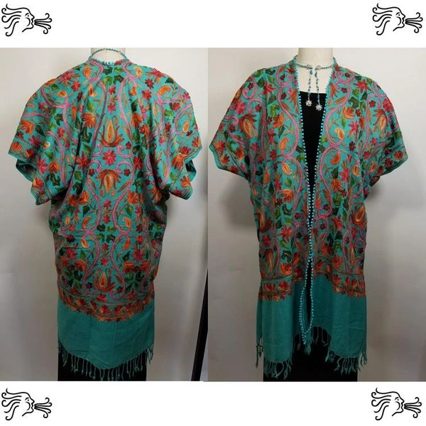 Turquoise & Red Embroidered Kimono Jacket Duster Vest