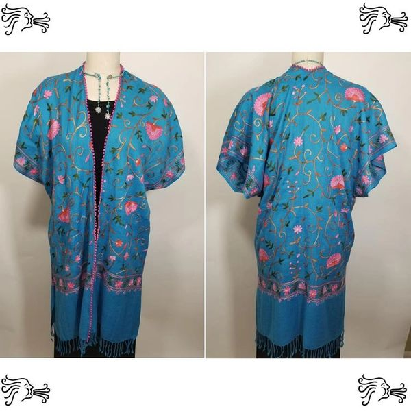 Blue Turquoise & Pink Embroidered Kimono Jacket Duster Vest