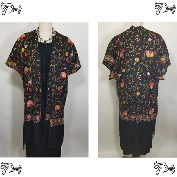 Black Yellow Pink Floral Embroidered Kimono Jacket Duster Vest