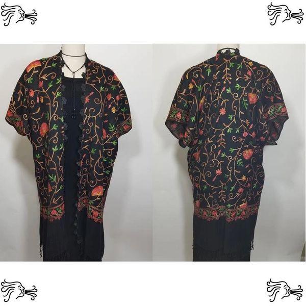Black Orange Red Floral Embroidered Kimono Jacket Duster Vest