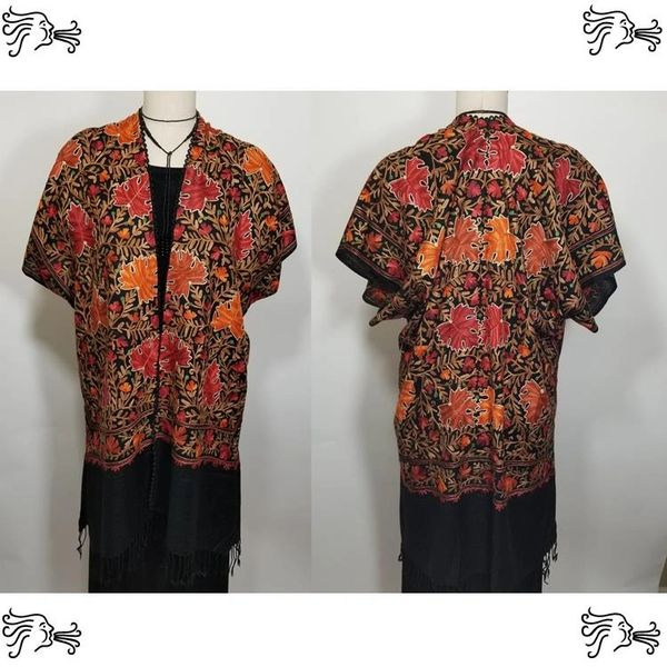 Black Red Orange Leaves Embroidered Kimono Jacket Duster Vest
