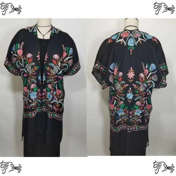 Black Blue Pink Tulip Embroidered Kimono Jacket Duster Vest