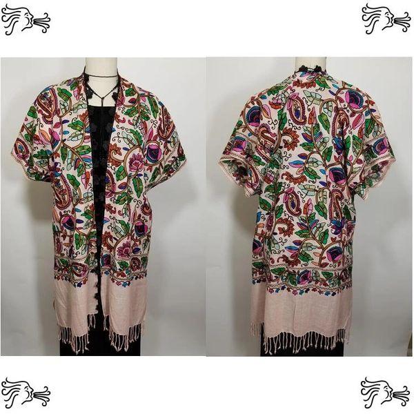 Pink Multicolor Black Border Embroidered Kimono Jacket Duster Vest