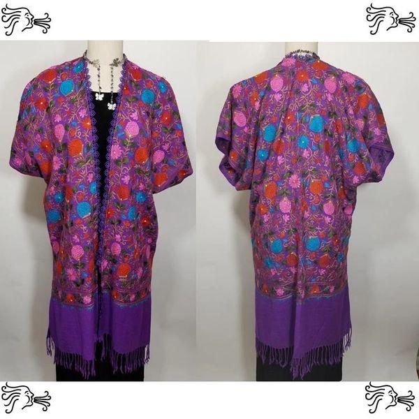 Purple Pink Blue Floral Embroidered Kimono Jacket Duster Vest