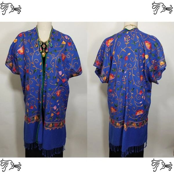 Royal Blue Red Yellow Floral Embroidered Kimono Jacket Duster Vest