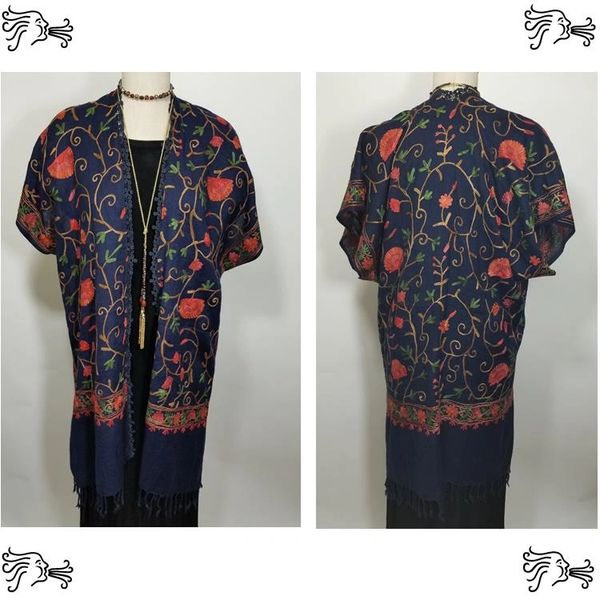 Navy Red Floral Embroidered Kimono Jacket Duster Vest