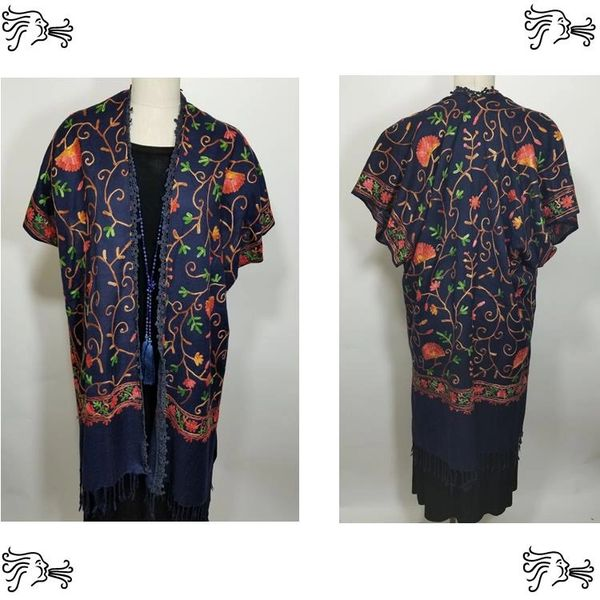 Navy Red Orange Floral Embroidered Kimono Jacket Duster Vest