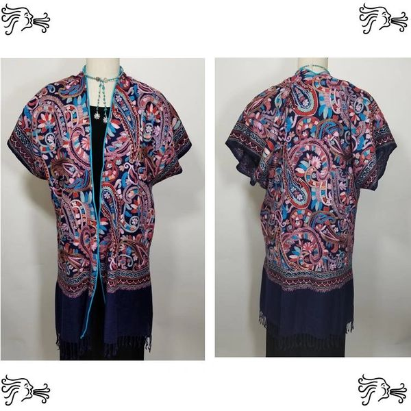 Navy Turquoise Pink Red Paisley Embroidered Kimono Jacket Duster Vest