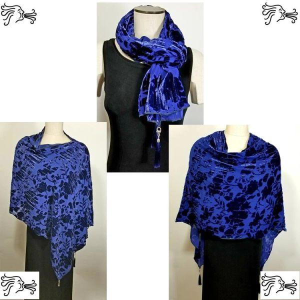 Cobalt Blue Burnout Velvet Poncho with Detachable Tassels