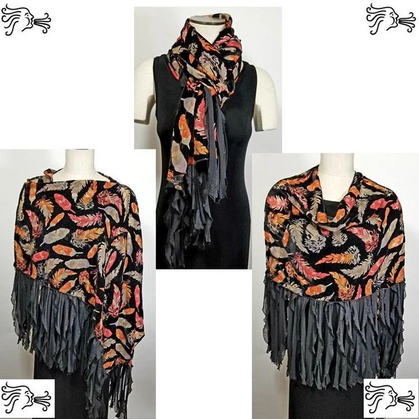 Burnout Velvet Orange Red Gray Feathers on Black Poncho with Flutter Trim