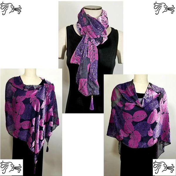 Purple Magenta Gray Burnout Velvet Poncho with Detachable Tassels