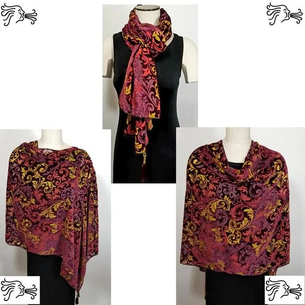 Burgundy Gold Burnout Velvet Poncho with Detachable Tassels