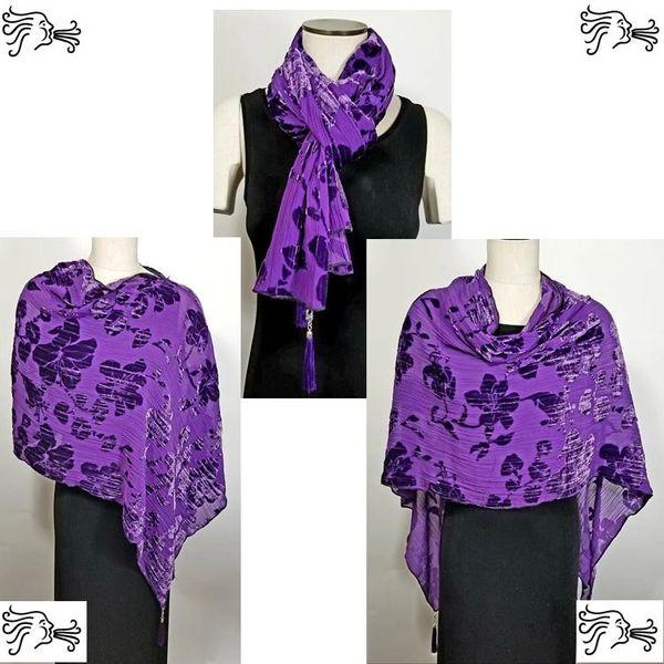 Purple Burnout Velvet Poncho with Detachable Tassels