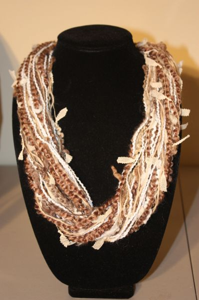 Light Brown/ Beige/Cream Yarn Necklace Scarf