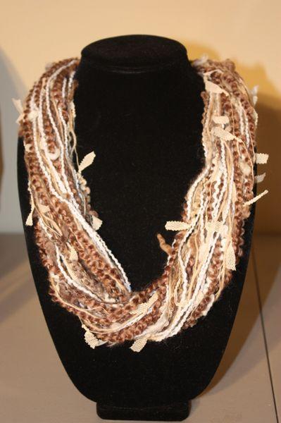 Light Brown/ Beige/Cream Yarn Necklace Scarf