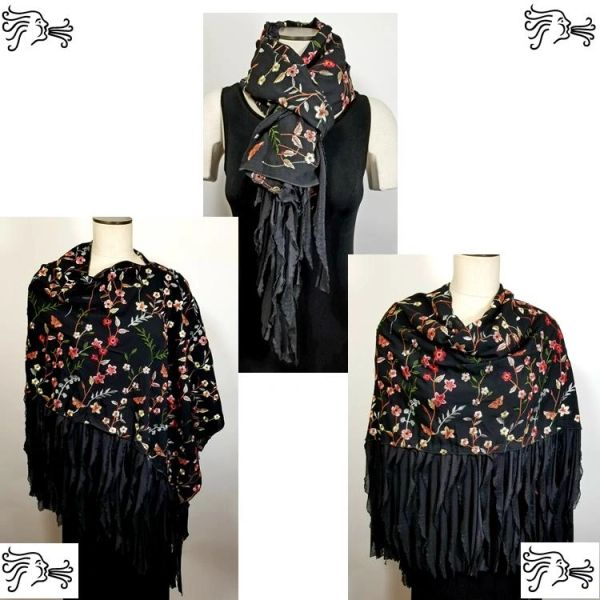Black Embroidered Floral Poncho with Flutter Trim