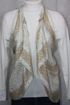 Woven Light Brown/White/Silver Vest/Scarf
