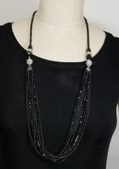 Black Crystal 3-Way Necklace with Magnetic Clasps