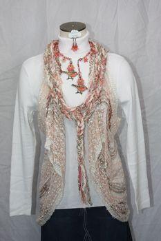 Woven Light Brown/Pink/Black Vest/Scarf