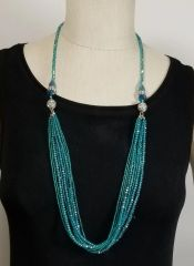 Turquoise Green Crystal 3-Way Necklace with Magnetic Clasps