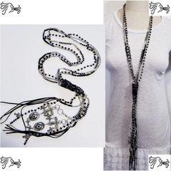 Black Leather Stone Long Necklace Crystal Boho Tassel Cross Charm