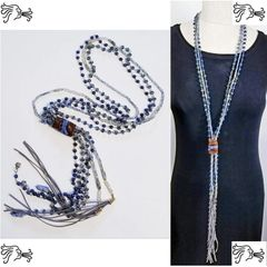 Long Leather Blue Lapis Stone Long Necklace Crystal Boho Tassel Charm