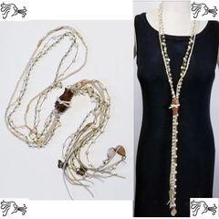 Long Leather Brown Jasper Stone Long Necklace Crystal Boho Tassel Charm