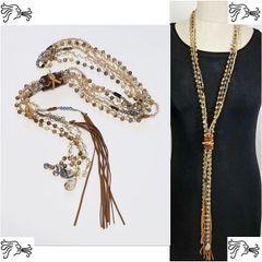 Long Leather Painted Jasper Stone Long Necklace Crystal Boho Tassel Charm