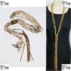 Long Leather Pearl Stone Long Necklace Crystal Boho Tassel Charm