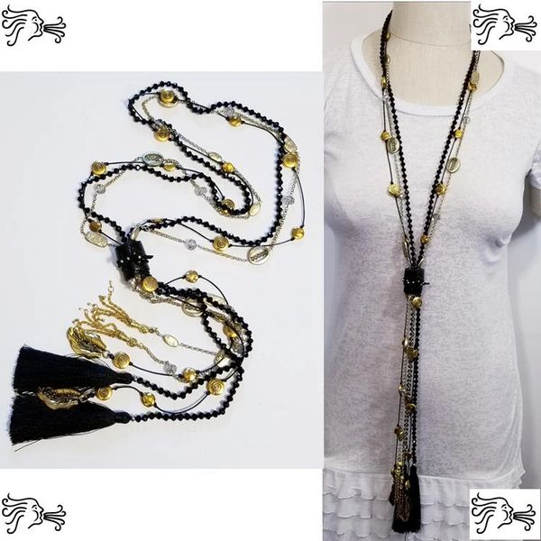 Black Crystal Leather Stone Long Necklace Boho Gold Chain Charm Woman