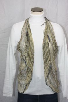 Woven Light Brown/Gold/Multi Thread Vest/Scarf