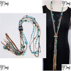 Mexican Turquoise Crystal Leather Stone Long Necklace Boho Chain Charm Woman