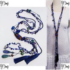 Royal Blue Crystal Leather Druzy Stone Long Necklace Boho Tassel Charm Woman