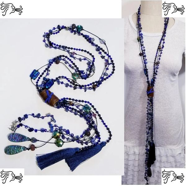 Royal Blue Crystal Leather Druzy Stone Long Necklace Boho Tassel Charm Woman