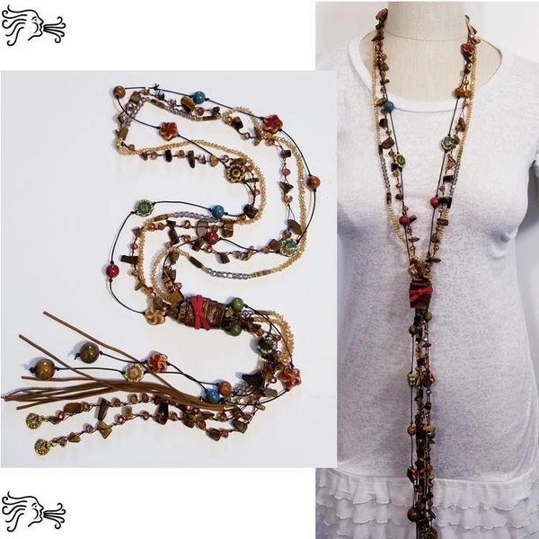 Raku Ceramic Crystal Leather Stone Long Necklace Boho Chain Charm Woman Red