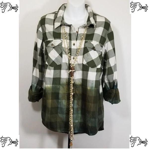 Cato 14/16W Shirt Dip Dyed Green Plaid Boho Vintage Women Hi Low Top