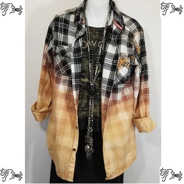 First Wave 4XL (20) Black and White Bleach Plaid Shirt Boho Vintage Distressed Women