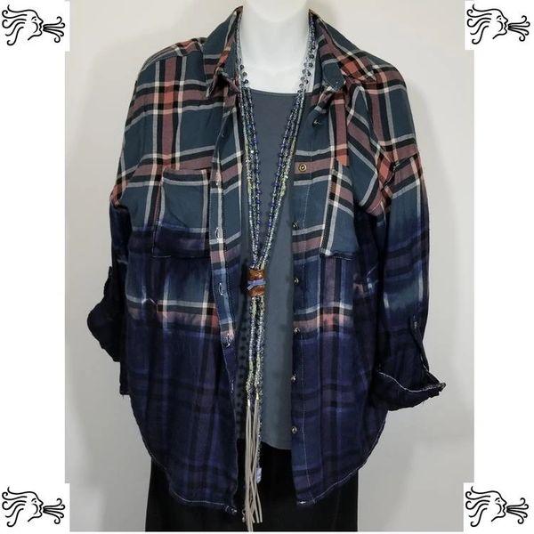 Charlotte Russe Medium Blue Slate Gray dyed Plaid Shirt Boho Vintage Distressed