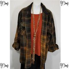 Claybrook XL Green Brown Burnt Orange Bleach Plaid Shirt Boho Vintage Distressed