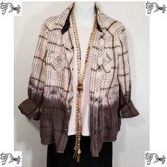 Old Navy Flannel Large Shirt Dip Dyed Brown Pink Plaid Boho Vintage Men Women
