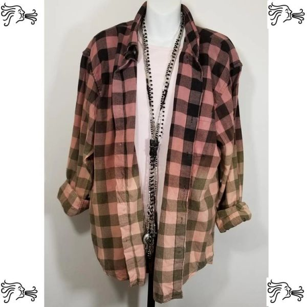 IZOD XL Black and Pink Bleach Plaid Shirt Boho Vintage Distressed Women