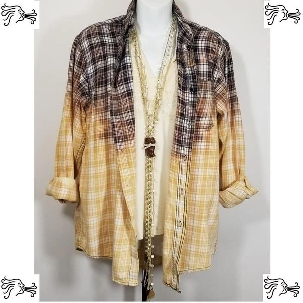 Faded Glory Med Black & White Bleach Plaid Shirt Boho Vintage Distressed Women