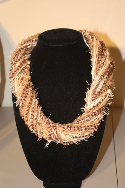Mix of Light Browns with Cream Eyelash Yarn Necklace Scarf