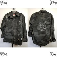 Wrangler Med Gray Camouflage Shirt Distressed Frayed Stars Applique Handpainted