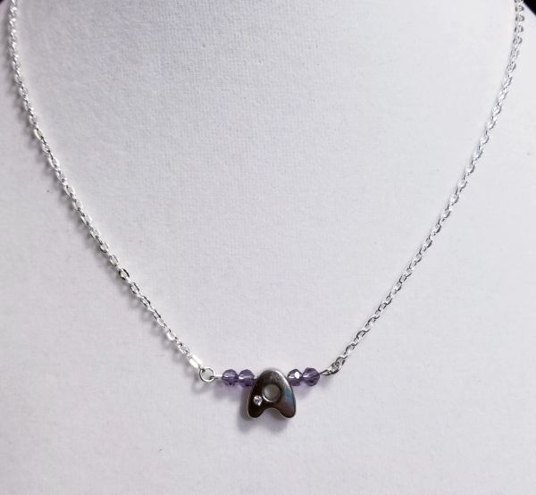 Initial February Birthstone Bar Silver Necklace 16 Inch Chain