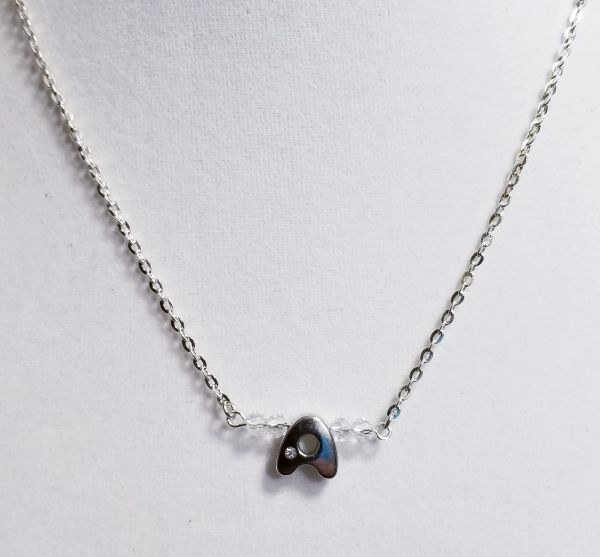 Initial April Birthstone Bar Silver Necklace 16 Inch Chain