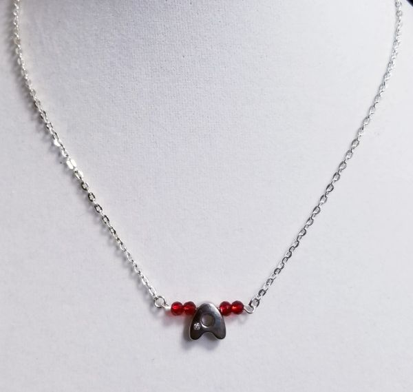 Initial July Birthstone Bar Silver Necklace 16 Inch Chain