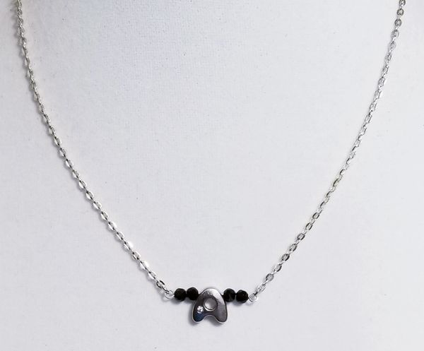 Initial Jet Black Bar Silver Necklace 16 Inch Chain