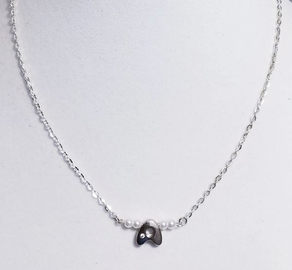 Initial Pearl Bar Silver Necklace 16 Inch Chain